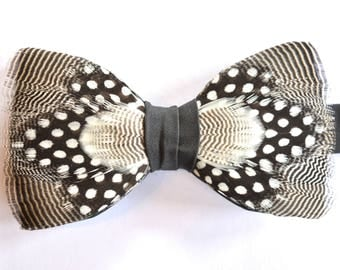 NIGHT SKY, Black and White, Feather Bow Tie, Wedding Bow Tie, Groom Gift, Groom Bow Tie, Groomsmen Gift, Black Wedding, Rustic Wedding, Prom