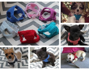 Puppy Kitten Harness Teeny Tiny! First Soft Cotton Crochet Dog Pet Harness for 1 - 2 Lbs for Chihuahua Yorkie Maltese Toy Teacup Puppy Pig