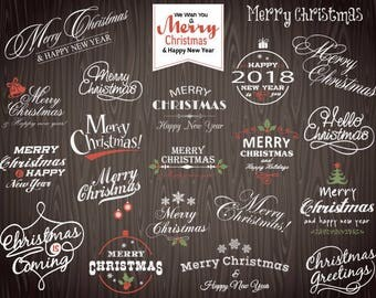 Digital Christmas Clipart, Merry Christmas Photo Overlay, Chalkboard Christmas Wording, Instant Download Chalkboard Christmas Clip Art 0360