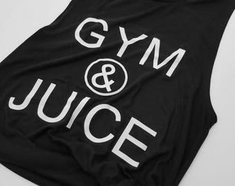 Gym And Juice Muscle Tank Top, Funny Workout Tank Top, Cute Gym Tee, Custom Shirt, Graphic Print Tank Top, Popular Workout Shirt