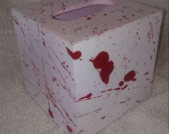 Handpainted blood-splatter tissue box cover Dexter/Walking Dead inspired