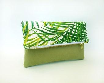 Summer clutch bag, Tropical fold over clutch bag, Green handbag, Sac ete, Folded bag, Faux leather bag palm leaf, Pochette, Foldover bag