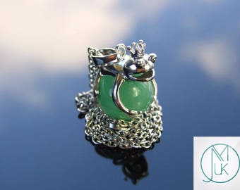 Aventurine Frog Natural Gemstone Pendant Necklace 50cm Chakra Healing Stone with Pouch FREE UK SHIPPING