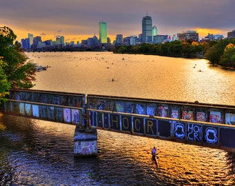 Head of the Charles Regatta, Charles River Regatta, Boston Skyline Canvas, Rowing Art, Boston University Bridge, CHOOSE PRINT or CANVAS
