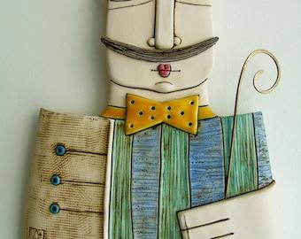 Handmade ceramic art tile,Original ceramic sculpture,Wall art,Gentleman with a cane,