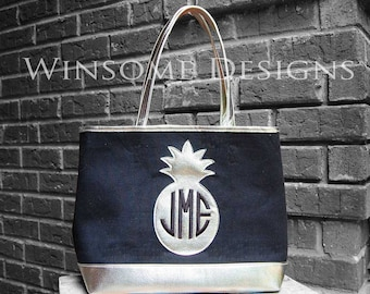 Monogram Summer Tote-Monogram Pineapple Bag-Pineapple Beach Bag-Pineapple Beach Tote-Pineapple Tote-Tote With Pineapple-Preppy Pineapple Bag