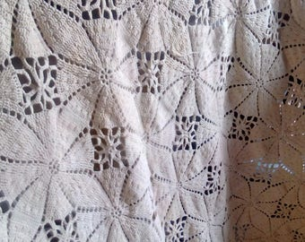 Beautiful Vintage Hand Crocheted Bed Covering