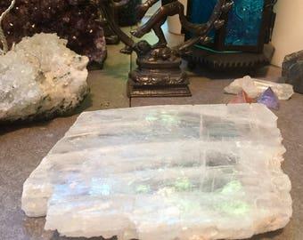 Selenite crystal charging plate windowpane geode E170435