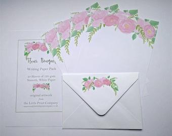 Writing Paper and Co-ordinating Envelopes Set, Fleur Bouquet Design