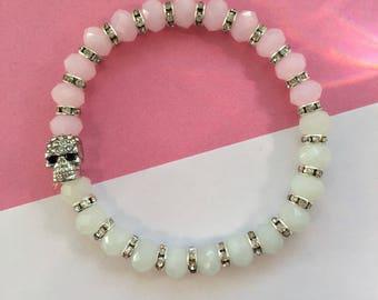Pastel pink and white opal crystal bead skull head bracelet diamonte skull charm silver diamonte gift for her gift for bestie girlfriend