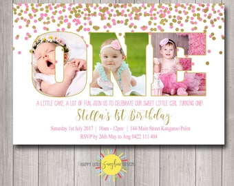 Printable Girls Birthday invitation Personalised 1st Birthday Photo Word Pink and Gold Confetti