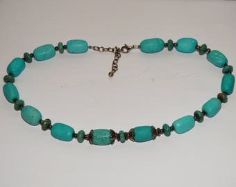 Sterling Silver Stamped With Genuine Turquoise Stone Necklace.