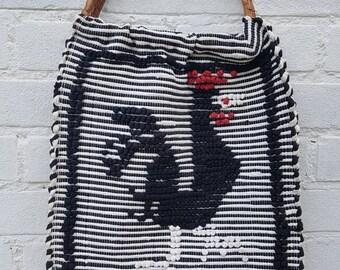 Vintage handbags, shopper bag, tote bag - 60s Portugal Rooster Needle point bag - Artisan bag