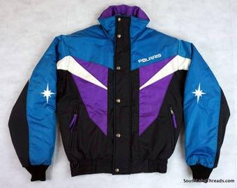 Vintage Polaris Snowmobile Jacket Winter Coat Purple Teal Black Men's Small Racing Snowmobiles VTG
