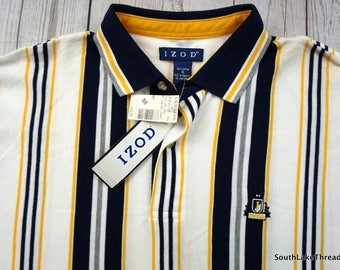"Vintage Izod Striped Polo, Deadstock New With Tags, White/Black/Yellow Polo Shirt - Men's Medium  Embroidered Logo ""Izod"""