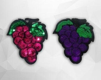 Grape Sequin Iron on Patch (M) - Sequin Grape,Glitter Applique Iron on Patch - Size 7.0x7.9 cm