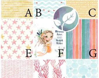 Fabric Sample / Fabric Swatch / Fabric Matching / Mermaid Kisses Collection by Fabricology / Baby Girl Nursery