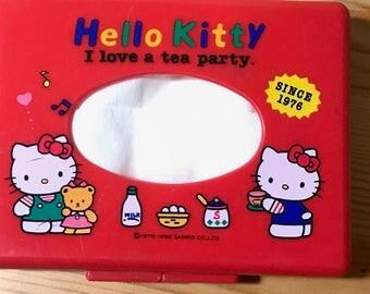Vintage 1990 Sanrio Hello Kitty Mini Plastic Tissue box