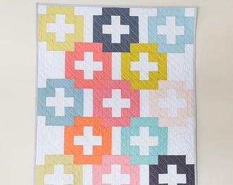 Plus and Minus PDF quilt Pattern/ modern quilt pattern/ fat quarter quilt pattern