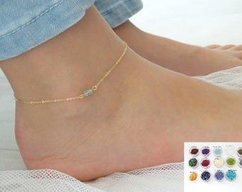 Gemstone anklet, Custom Birthstone anklet, Gold anklet, Silver anklet, Gemstone jewelry, Birthday gift , Gift for her