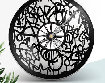 Clock vinyl two layered black & color / / Abstract Graffiti