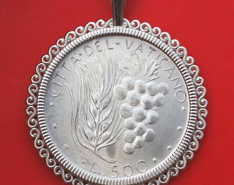 1971 Vatican 500 Lire BU Uncirculated 83.5% Silver Coin 925 Sterling Silver Necklace NEW - Wheat and Grapes