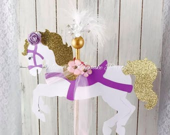 Carousel Horse Cake Topper - Carousel Horse Birthday Party - Carousel Baby Shower - Carousel Decorations - Carousel Centerpiece - Customized