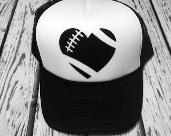 Football heart, football, football gift, football lover, football hat, football trucker hat, trucker hat, football fashion
