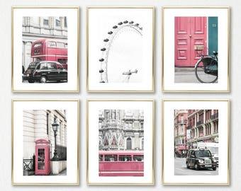 London Prints // Pink Wall Art Set of 6 // Office Decor Art // Pink Room Decor Prints Set // Telephone Booth // London Eye