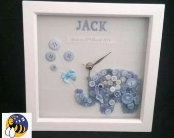 Christening Gift, New Baby Gift, Baby Keepsake Gift, Baby Boy Gift, Nursery Clock, Elephant Clock, Elephant Nursery Decor