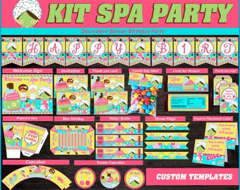 Printable Spa Party Kit for Girls, Spa Party Birthday package, Spa themed party kit, Party package Spa for girls