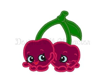 "Shopkins cherries applique machine embroidery design- 3 sizes 4x4"", 5 x 7"" and 6 x 10"""