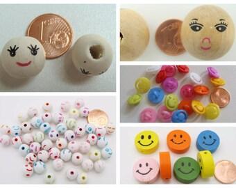 Perles Visage Face Tête Smiley Sourire Bois ou Acrylique DIY création bijoux Loisirs créatifs poupée