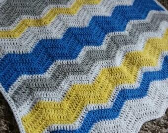 Chevron BABY BLANKET. Handmade crochet blanket