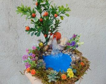 ORANGE TREE Pond,Fairy Pond, Miniature Pond, Fairy Garden Accessory,Miniature Garden Pond,Miniature Garden Accessory, Fairy Garden Kit