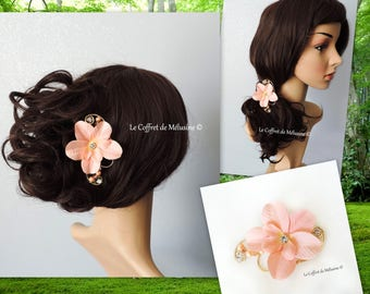 Wedding peach fabric flower hair clip Barrette and Crystal beads