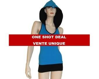 "Sample sale,tank top ""Racer Back"", hooded yoga top, sport camisole, hoodie tank racer."