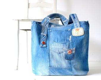 recycled denim tote bag ,denim bag, beach, light blue jeans bag, recycled jeans, beach bag, denim tote, shopper, vintage bag, vintage jeans