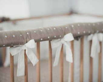 Linen crib rail cover - white BROWN teething guard - crib teething rail - teething rail protector - rail de protection
