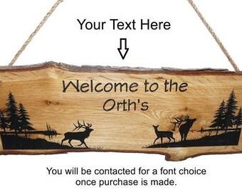 Elk Sign, Elk Decor, Rustic Sign, Personalized Sign, Welcome Sign, Cabin Sign, White Oak Sign, Rustic Wood Sign, Wood Sign, Engraved Sign