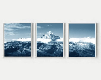 Mountain prints, Triptych, Modern Scandi Prints, Set of 3 Prints, Mountain Print, Landscape Triptych, Printable Wall Art, Instant Download