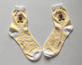 Esprit Yellow and White Striped Socks 90's Deadstock