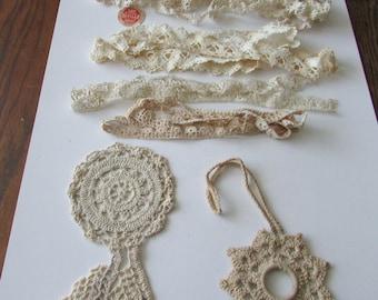 Vintage  Lace Crochet Ecru Trim Estate Lot Crochet Shade Curtain Pull