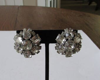 Vintage  Rhinestone Clip  Earrings  Sparkly Clip On Bridal Wedding