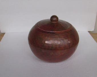 Vintage Hammered Copper Round Box Mid Century Great Patina!