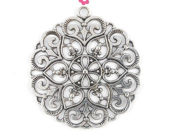 Large round pendant 60mm (160 d) silver heart and flower