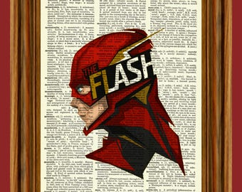The Flash Upcycled Dictionary Art Print Poster