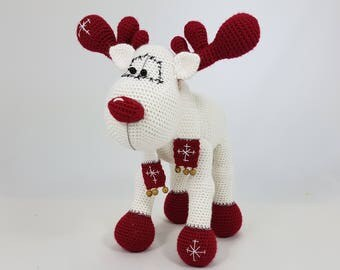Rudolph the Reindeer crochet amigurumi christmas stuffed animal, crochet reindeer, christmas decoration, xmas gift, christmas home decor