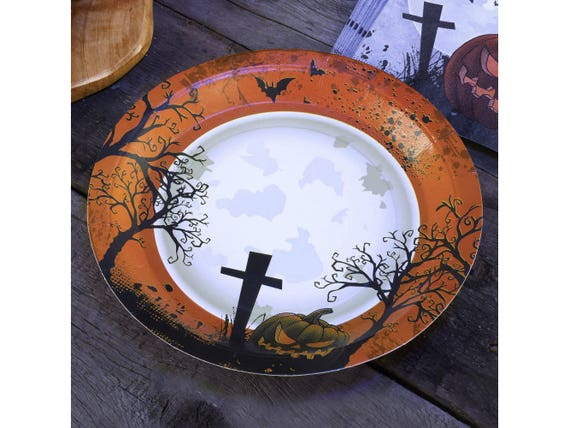 Like this item?  sc 1 st  Etsy & Graveyard Gathering Halloween Themed Paper Plates Disposable