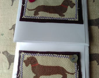 Two Wire Haired Dachshund cards